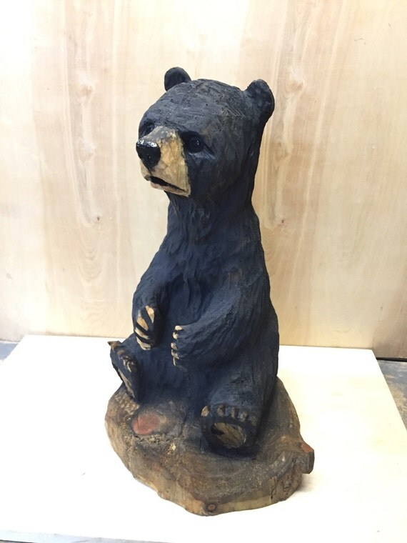 Bear chainsaw wood carving black sculpture