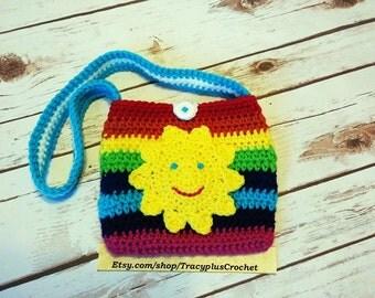 Rainbow purse. Rainbow bag. Crochet Rainbow purse. Crochet Rainbow bag. Handmade Rainbow purse. Handmade Rainbow bag. Sunshine purse.