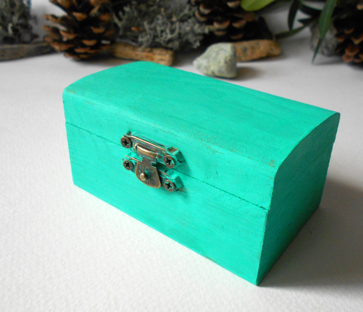 turquoise wooden box small jewelry box by exiartsecocrafts on etsy. Black Bedroom Furniture Sets. Home Design Ideas