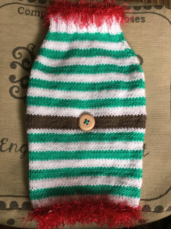 Knitting Pattern For Elf Jumper : Medium hand knit dog puppy Elf sweater jumper coat raglan
