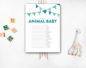 INSTANT DOWNLOAD printable baby shower game / animal baby game / animal matching game / #VC104