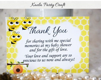 SALE!!! Bee baby shower thank you cards. Bee baby shower. Bee baby shower decorations. Bee baby shower invitation. Bee baby shower games