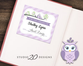 Instant Download Lilac Owl Bookplate, Grey Purple Owl Book Label, Owl Book Plate, For the Library of Book Label for Girl 23H