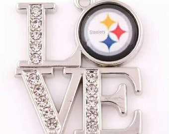 Love Pittsburgh Steelers Pendant, Sports Charms, Pro Football Charm, Steelers Charm, Pittsburgh Steelers Charm, Pittsburgh Steelers- Qty:1