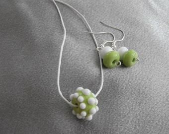Gorgeous Lime Green And White Lampwork Glass Bead Necklace And Earring Set- Womens Jewelry, Handmade Jewelry, Teen Jewelry, Jewelry Set