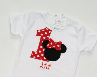 Minnie Mouse Birthday Bodysiut or Shirt, Appliqued Bodysuit, Girls Birthday Shirt
