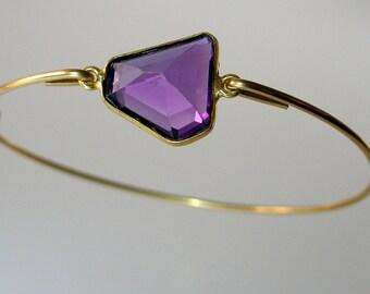 Amethyst Gold Bangle Bracelet, Gold Bangle Bracelet, Gemstone Bracelet, Gemstone Bangle, Bezel Set Amethyst, February Birthstone (Gm294G)