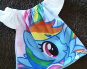 10 inch Upcycled Girl Waldorf Doll Dress Hello Rainbow Dash