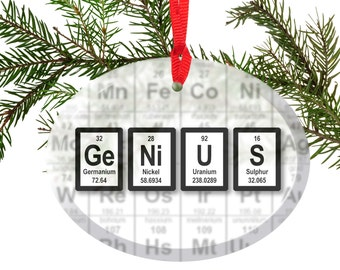 Periodic Table Genius Beveled Glass Ornament