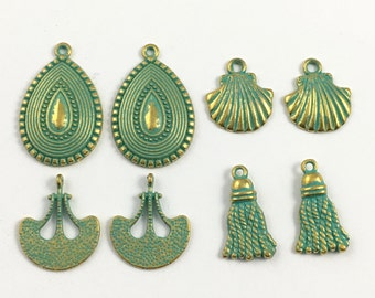 8 green patina mix charms ,18mm to 30mm  # CH 151