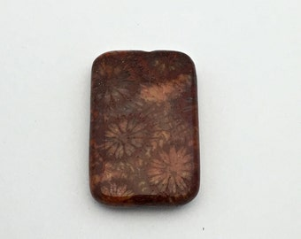 1 fossil coral stone bead/ 20mm x 30mm/ puffed rectangle #PP049