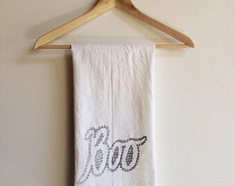 Halloween Tea Towel, Screen Printed Flour Sack Towel