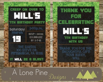 Pixel Made Birthday Invitation & Thank You Card