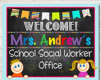 CUSTOM Social Worker Door Sign, Personalized Social Worker Office Sign, School Office Door Decor, Social Worker Gifts, School Social Worker