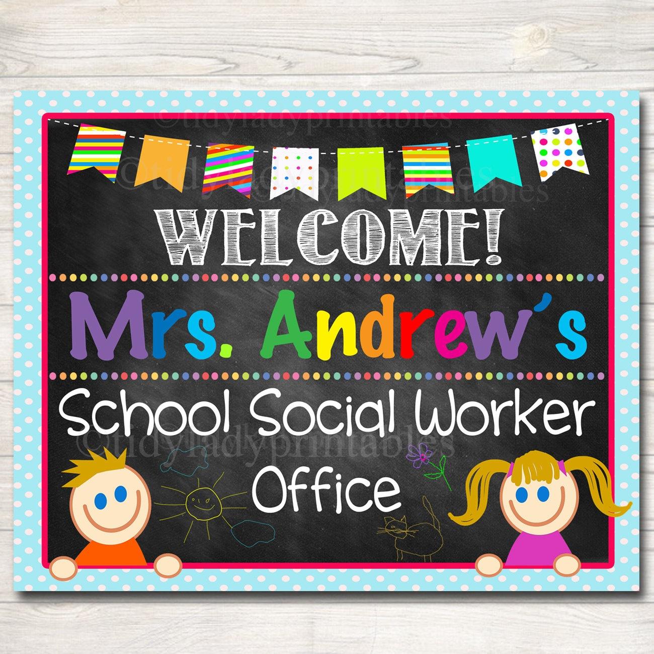 Scrapbook ideas for elderly - Custom Social Worker Door Sign Personalized Social Worker Office Sign School Office Door Decor Social Worker Gifts School Social Worker