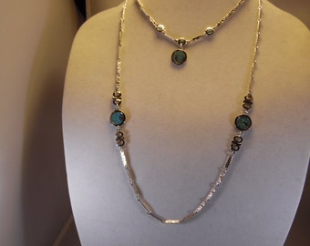 2- Sarah Conventry Necklaces Silver Tone With Turquoise and Matching Pierced Earrings Set