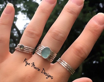 Custom Sea Glass Stacking Ring Set, Sea Glass Ring, Stacking Rings, Argentium Silver Rings