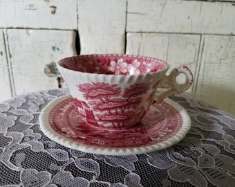 Vintage 1920's Copeland Spode Tower Pink Red Cup and Saucer Teacup Great Condition