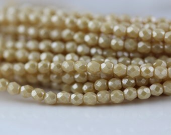 50 Luster Opaque Beige, 4mm Czech firepolish glass faceted round beads  (FP-4M-75)