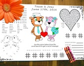 Kids Placemat. Tiger Wedding Activity PDF.  Your Names & Date. Coloring, Maze, Connect the Dot.
