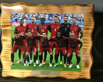 Handcrafted Pine Plaque UEFA Euro 2016 Champions (Portugal Team)
