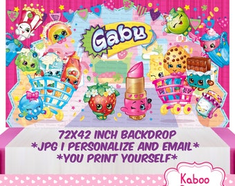 DIGITAL Shopkins backdrop - Shopkins Birthday Party Poster - PRINT yourself - NOT being sent in the post