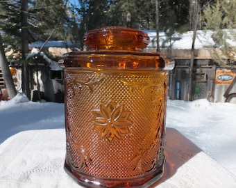 Beautiful Amber Jar with Lid