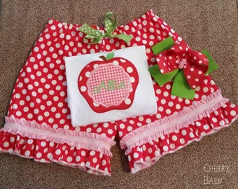 Apple Polka Dot Back To School Outfit with Pants, Shorts or Skirt