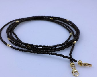Gold Filled and Black Waistbeads