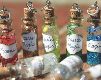Faerie Dust Miniature Bottle Charms with Glitter and Label