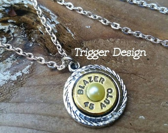 45ACP Bullet Charm Necklace- Yellow  Pearl