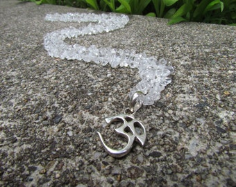Clear Quartz Long Necklace with Sterling Silver Om Pendant