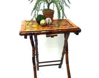Vintage Rustic Wooden Tray Table, Folding Small Serving Table