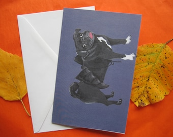 Bat Pug Greeting Card, Halloween Greeting Card, Black Pug in a Bat Costume Greeting Card by Amber Maki