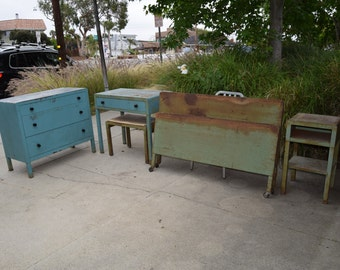 Rare Simmons Art Deco Steel Bedroom Set: Headboard, Footboard, Dresser, Desk & Bench