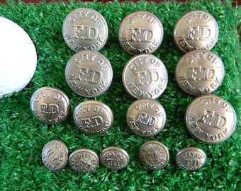 Vintage New York City Fire Department New York Silver Quality Uniform Buttons; 15 in Total
