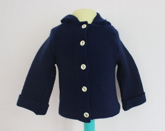 VINTAGE 70's / kids / hooded cardigan / navy blue / size 1 year