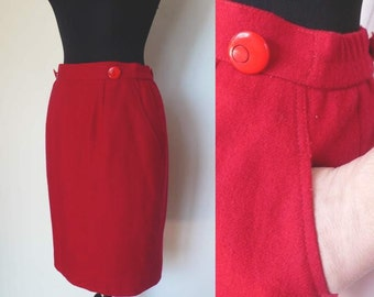 Vintage Red Wool Pencil Skirt | pockets
