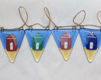 Fused Glass Bunting Beach Hut Design Handmade Bunting Garland  Present Birthday Gift