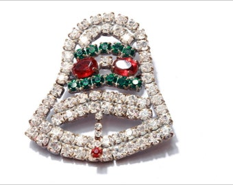 Czech hand crafted Christmas bell pin brooch with faceted crystal rhinestones 142-53