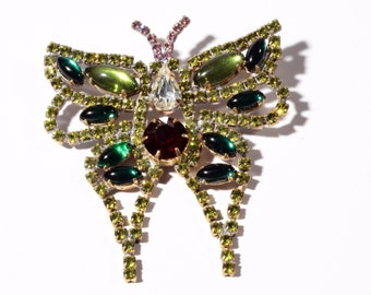 Vintage hand crafted Czech Bohemian butterfly pin brooch with faceted glass rhinestones 105-33