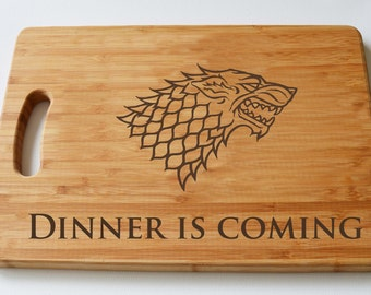 Game Of Thrones Engraved Wood Chopping Board, Dinner is Coming, LARGE STARK, Cheeseboard, GOT Fans, Birthdays, House Gift, Anniversary