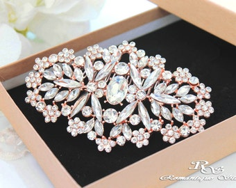 Crystal hair comb ROSE GOLD bridal hair comb hair clip rose gold wedding hair comb Art Deco hair accessories vintage style 5179RG