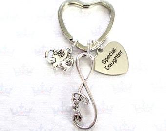 Special daughter keyring - Infinity keychain - Daughter gift - Birthday gift for daughter - Daughter keyring - Elephant keychain - Etsy UK