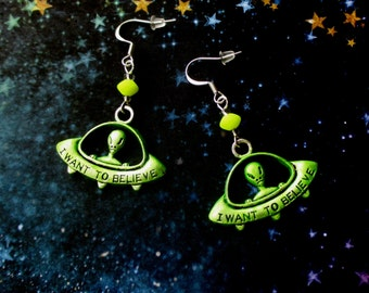 Green alien earrings - Glow in the Dark jewellery - UFO earrings - UV Active - Spaceship earrings - Nerdy gift - Sci fi geek - UK seller