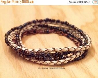 JUST BECAUSE Boho Bracelet, Bohemian Bracelet, Inara Metallic White 3x Wrap Bracelet