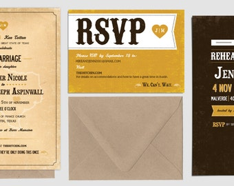 Vintage Custom Wedding Invitation Set, Yellow and Brown