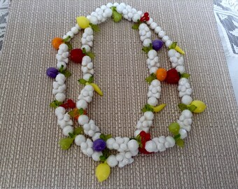 Vintage Lucite Plastic Fruit Puzzle Necklace