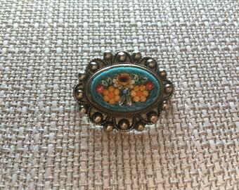Micro Mosaic Italian Silver Brooch