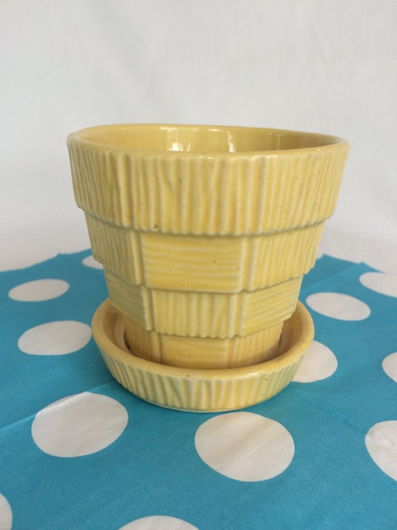 McCoy Vintage Small Yellow Basketweave Flower Pot